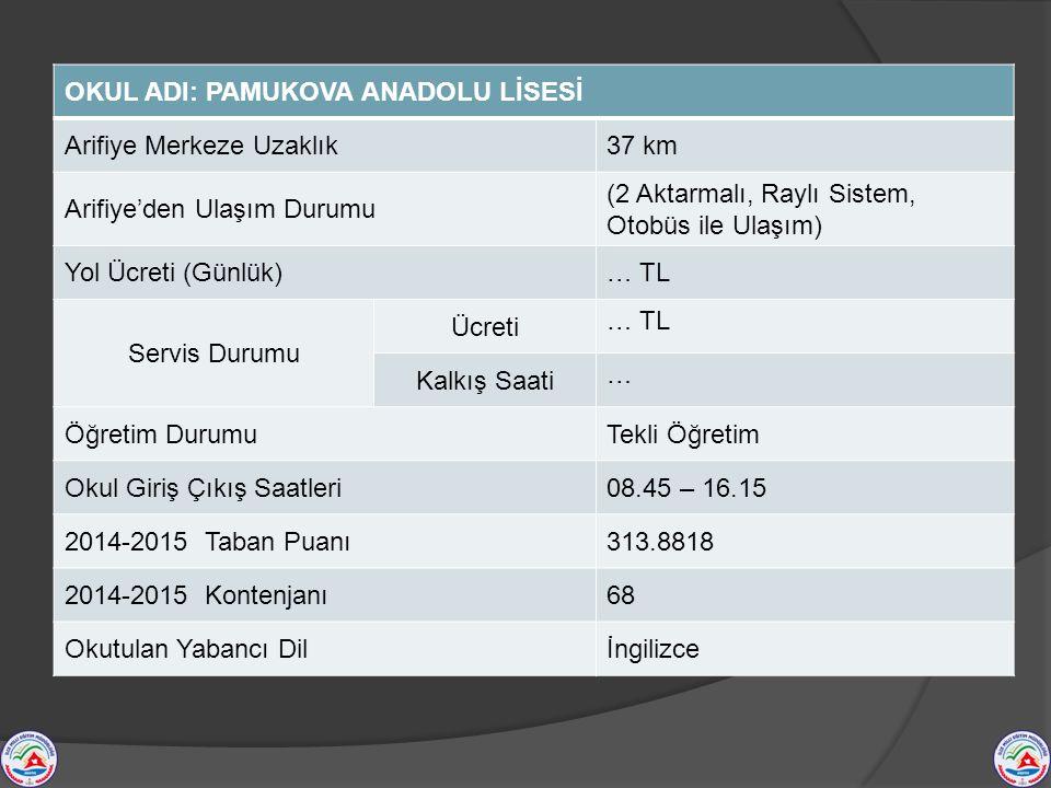 OKUL ADI: PAMUKOVA ANADOLU LİSESİ Arifiye Merkeze Uzaklık37 km Arifiye'den Ulaşım Durumu (2 Aktarmalı, Raylı Sistem, Otobüs ile Ulaşım) Yol Ücreti (Gü