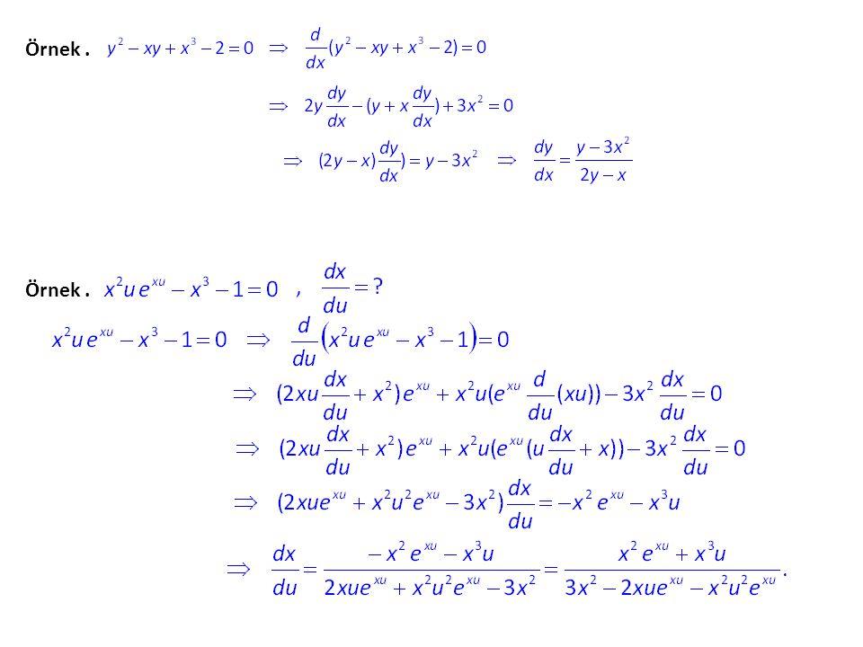 Bu derste değişim oranı problemleri kısmında da göreceğimiz gibi, bazen x = r(t) r(t) ve y = s(t)s(t) denklemlerinin tanımladığı r ve s fonksiyonları ile birlikte F(x,y) = 0 gibi bir kapalı denklemin sağlandığı durumlar ortaya çıkmakta ve bu durumda F(x,y) = 0 kapalı denkleminden yararlanılarak x = r(t), y = s(t) ve x2 x2 + y2 y2 – 1 = 0 olduğuna göre ilişkiyi bulalım.