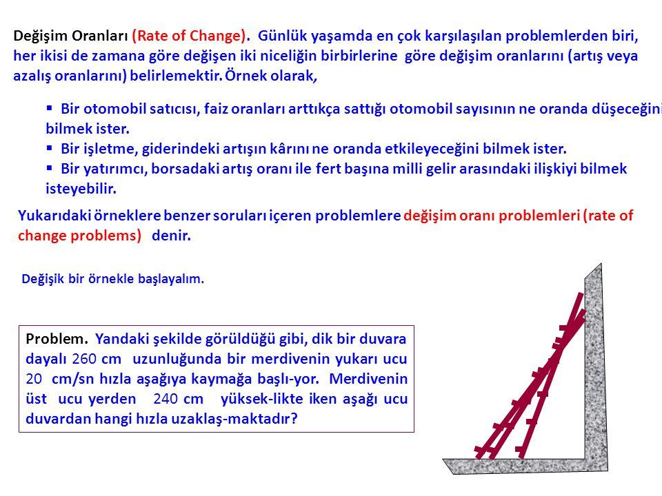 Bir değişim oranı problemini çözmek için aşağıdaki adımlar izlenebilir: 1.