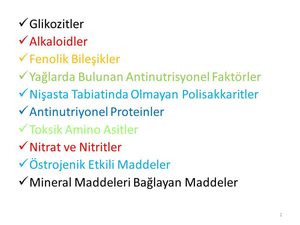 Glikozitler Alkaloidler Fenolik Bileşikler Yağlarda Bulunan Antinutrisyonel Faktörler Nişasta Tabiatinda Olmayan Polisakkaritler Antinutriyonel Proteinler Toksik Amino Asitler Nitrat ve Nitritler Östrojenik Etkili Maddeler Mineral Maddeleri Bağlayan Maddeler 2