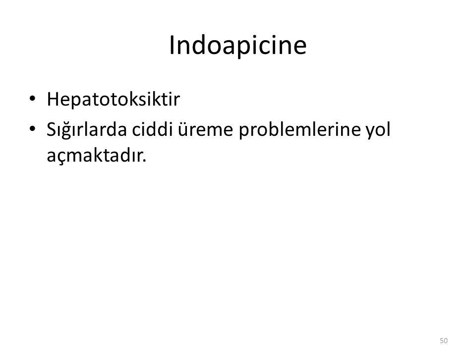 Indoapicine Hepatotoksiktir Sığırlarda ciddi üreme problemlerine yol açmaktadır. 50