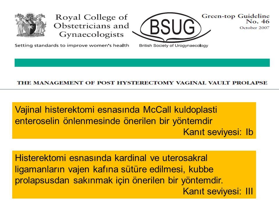 Vajinal histerektomi esnasında McCall kuldoplasti enteroselin önlenmesinde önerilen bir yöntemdir Kanıt seviyesi: Ib Histerektomi esnasında kardinal v