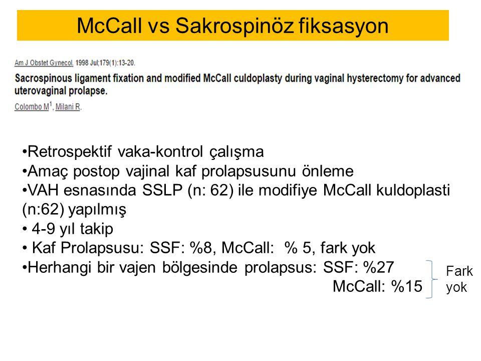 McCall vs Sakrospinöz fiksasyon Retrospektif vaka-kontrol çalışma Amaç postop vajinal kaf prolapsusunu önleme VAH esnasında SSLP (n: 62) ile modifiye