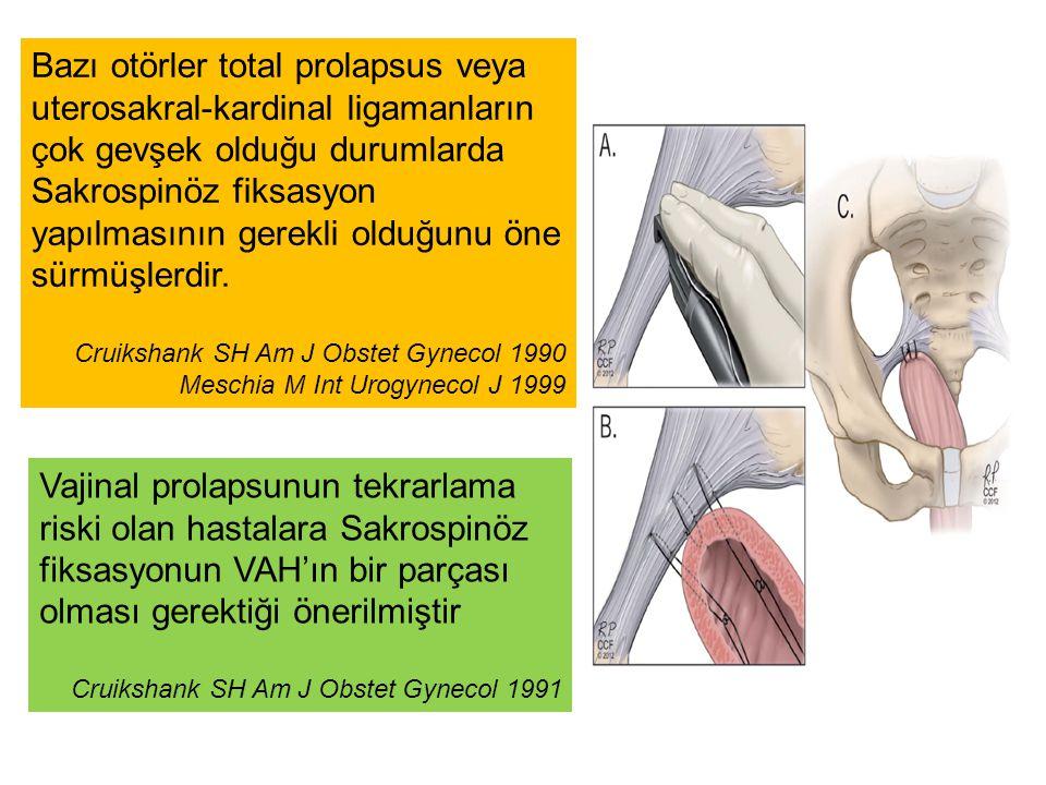 Bazı otörler total prolapsus veya uterosakral-kardinal ligamanların çok gevşek olduğu durumlarda Sakrospinöz fiksasyon yapılmasının gerekli olduğunu ö