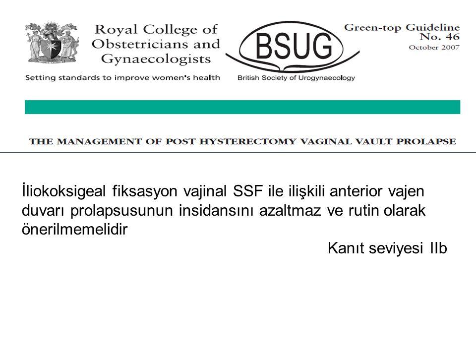 İliokoksigeal fiksasyon vajinal SSF ile ilişkili anterior vajen duvarı prolapsusunun insidansını azaltmaz ve rutin olarak önerilmemelidir Kanıt seviye