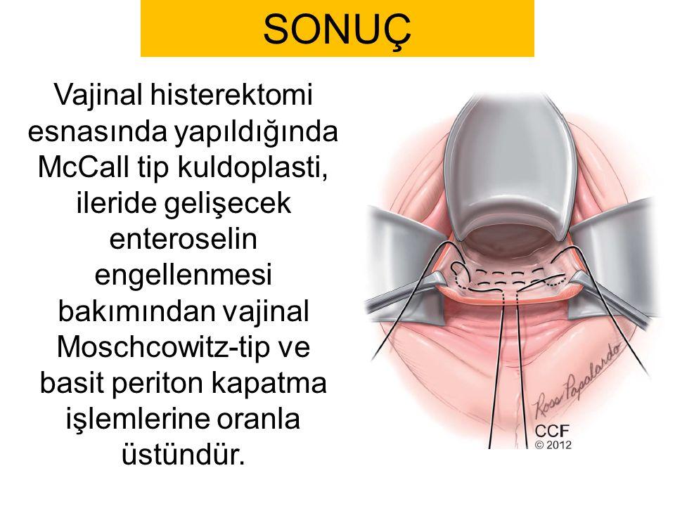 SONUÇ Vajinal histerektomi esnasında yapıldığında McCall tip kuldoplasti, ileride gelişecek enteroselin engellenmesi bakımından vajinal Moschcowitz-ti
