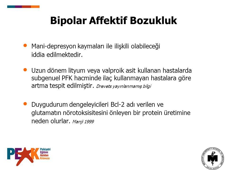 Bipolar Affektif Bozukluk Mani-depresyon kaymaları ile ilişkili olabileceği iddia edilmektedir. Uzun dönem lityum veya valproik asit kullanan hastalar
