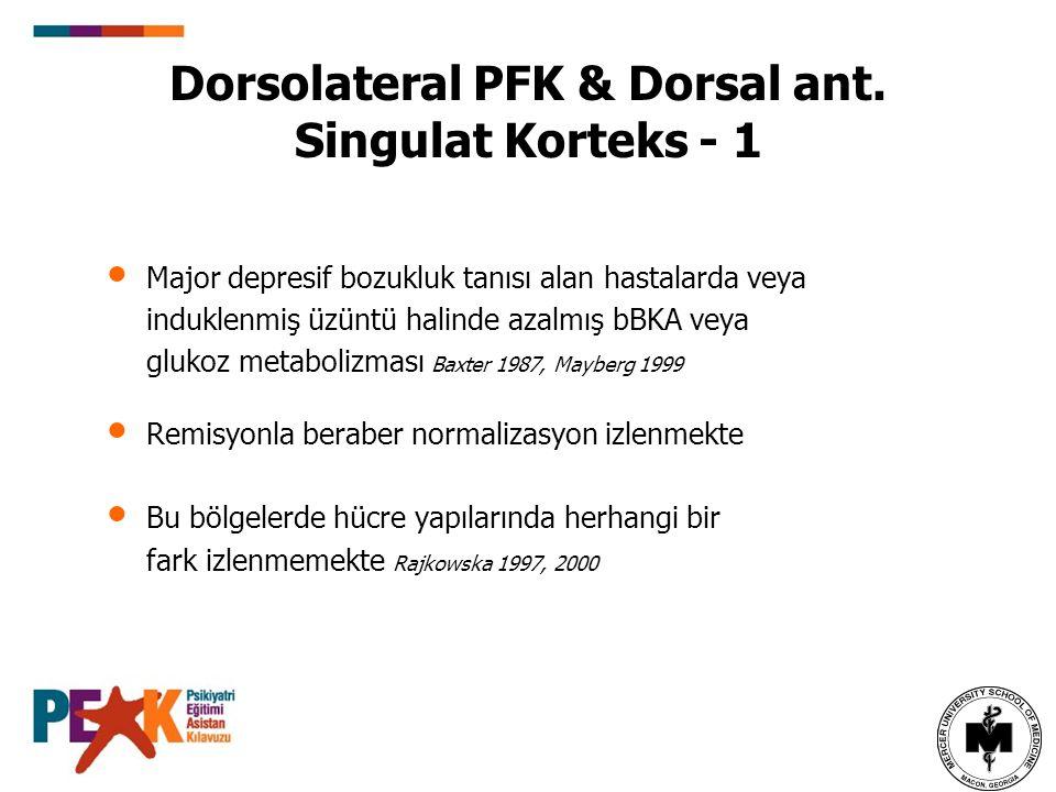 Dorsolateral PFK & Dorsal ant. Singulat Korteks - 1 Major depresif bozukluk tanısı alan hastalarda veya induklenmiş üzüntü halinde azalmış bBKA veya g