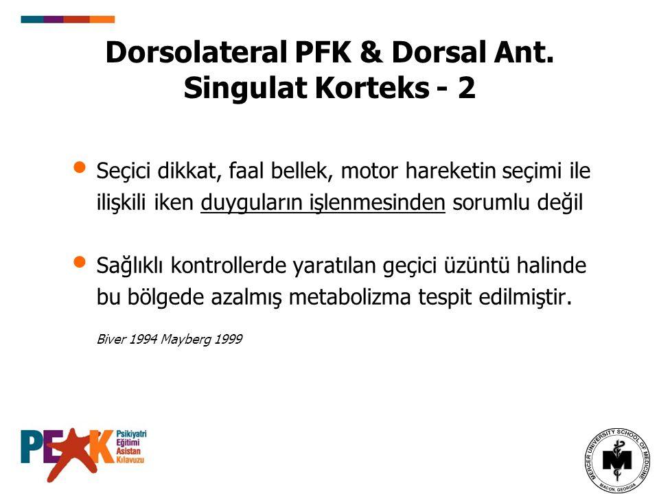 Dorsolateral PFK & Dorsal Ant. Singulat Korteks - 2 Seçici dikkat, faal bellek, motor hareketin seçimi ile ilişkili iken duyguların işlenmesinden soru