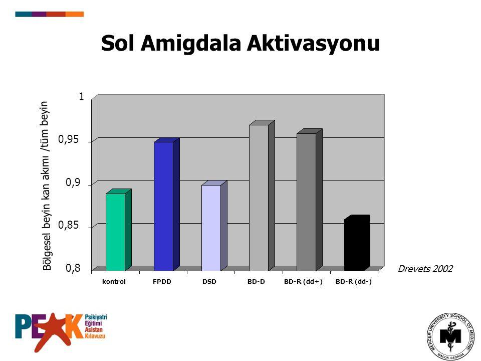 Sol Amigdala Aktivasyonu Drevets 2002 Bölgesel beyin kan akımı /tüm beyin 0,8 0,85 0,9 0,95 1 kontrolFPDDDSDBD-DBD-R (dd+) BD-R (dd-)