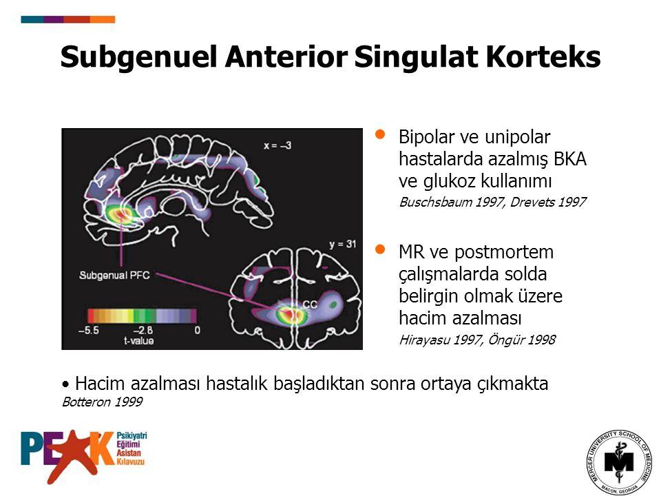 Subgenuel Anterior Singulat Korteks Bipolar ve unipolar hastalarda azalmış BKA ve glukoz kullanımı Buschsbaum 1997, Drevets 1997 MR ve postmortem çalı