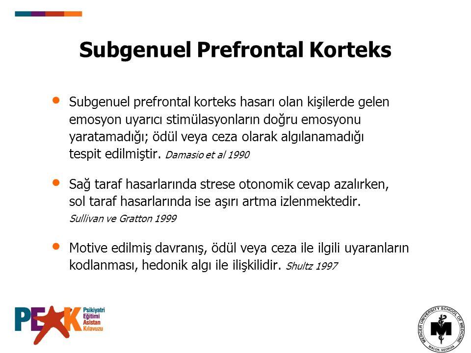 Subgenuel Prefrontal Korteks Subgenuel prefrontal korteks hasarı olan kişilerde gelen emosyon uyarıcı stimülasyonların doğru emosyonu yaratamadığı; öd