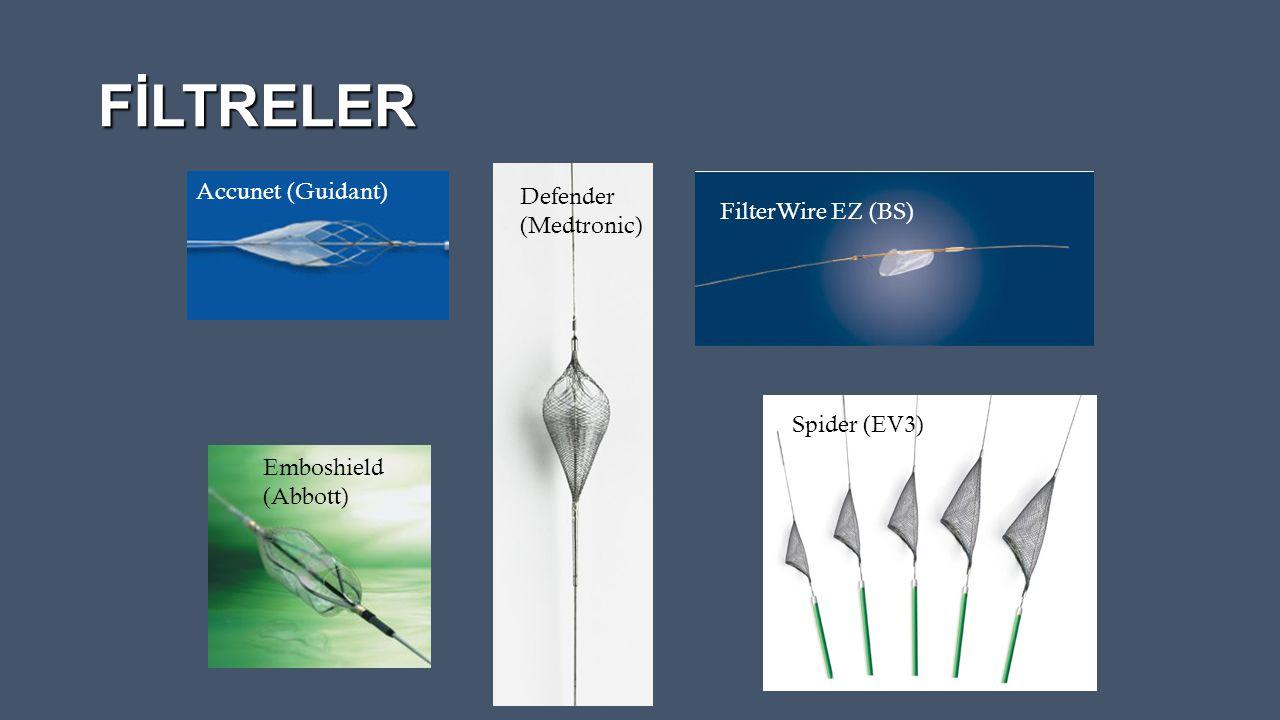 FİLTRELER Accunet (Guidant) Emboshield (Abbott) FilterWire EZ (BS) Spider (EV3) Defender (Medtronic)