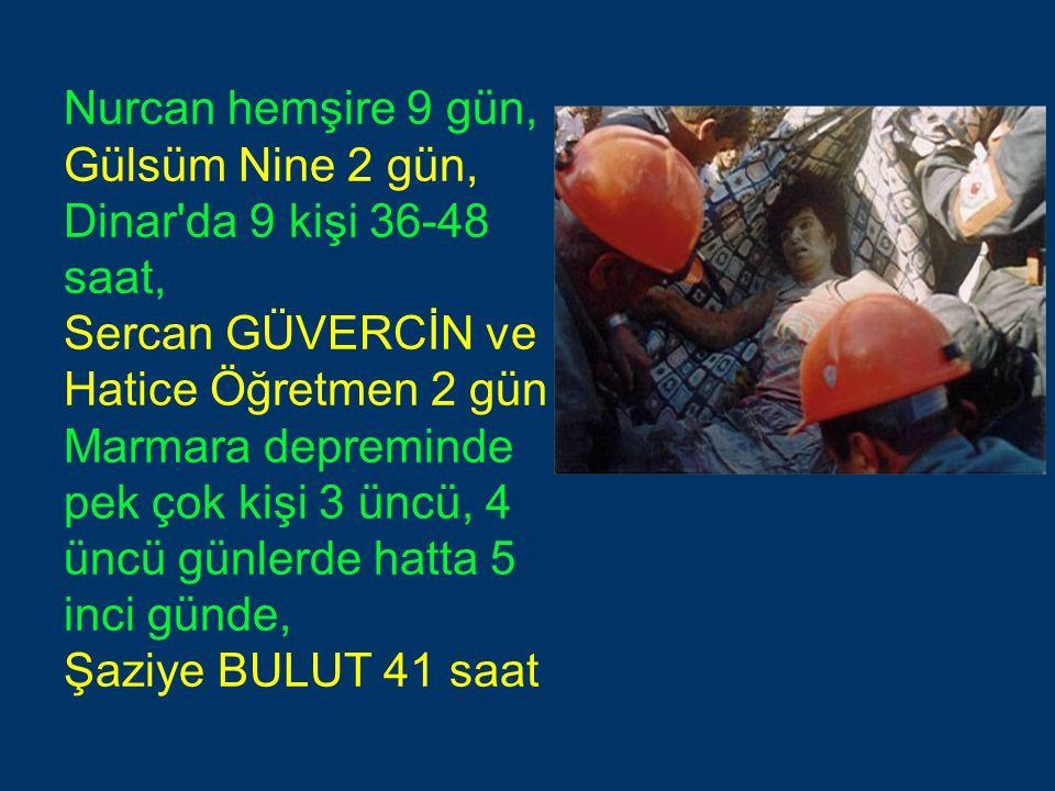 Nurcan hemşire 9 gün, Gülsüm Nine 2 gün, Dinar'da 9 kişi 36-48 saat, Sercan GÜVERCİN ve Hatice Öğretmen 2 gün Marmara depreminde pek çok kişi 3 üncü,