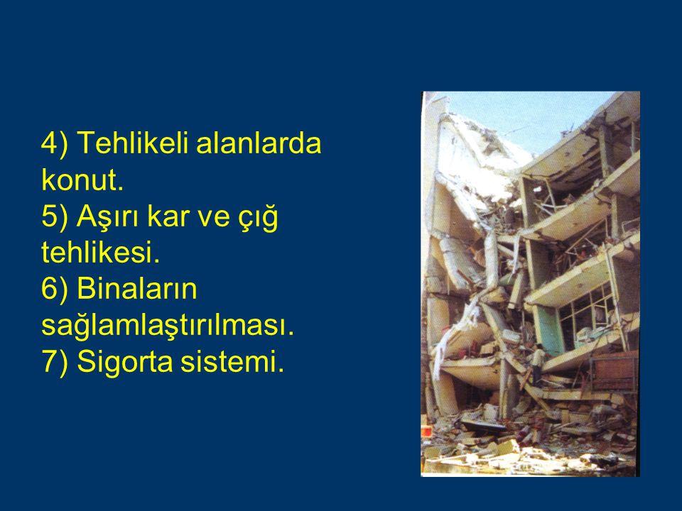 4) Tehlikeli alanlarda konut. 5) Aşırı kar ve çığ tehlikesi. 6) Binaların sağlamlaştırılması. 7) Sigorta sistemi.