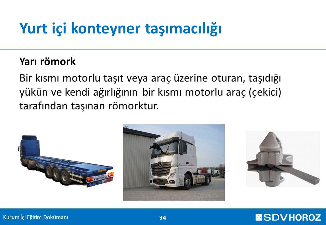 Kurum İçi Eğitim Dokümanı Yurt içi konteyner taşımacılığı Yarı römork Bir kısmı motorlu taşıt veya araç üzerine oturan, taşıdığı yükün ve kendi ağırlı