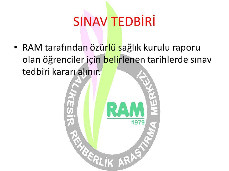 SINAV TEDBİRİ RAM tarafından özürlü sağlık kurulu raporu olan öğrenciler için belirlenen tarihlerde sınav tedbiri kararı alınır.