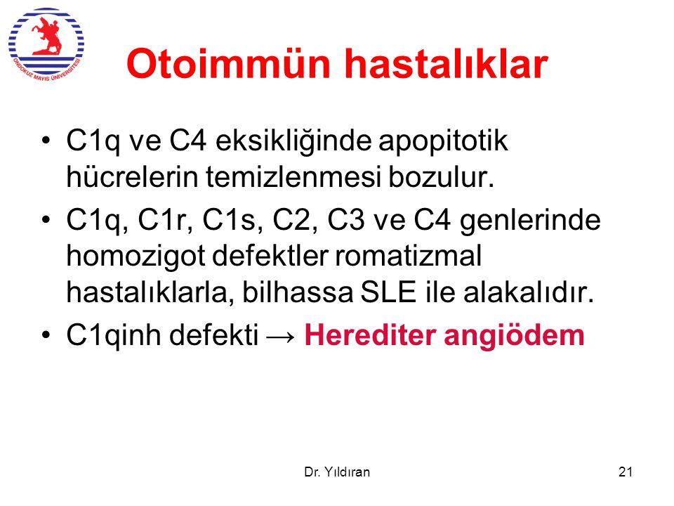 Otoimmün hastalıklar C1q ve C4 eksikliğinde apopitotik hücrelerin temizlenmesi bozulur. C1q, C1r, C1s, C2, C3 ve C4 genlerinde homozigot defektler rom