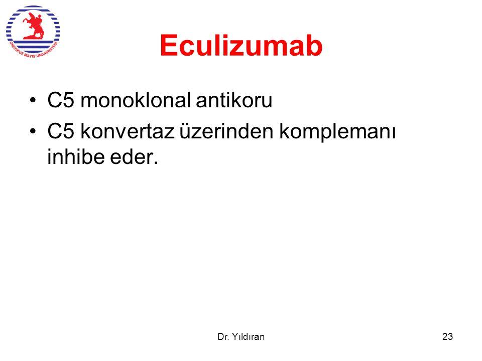 Eculizumab C5 monoklonal antikoru C5 konvertaz üzerinden komplemanı inhibe eder. Dr. Yıldıran23