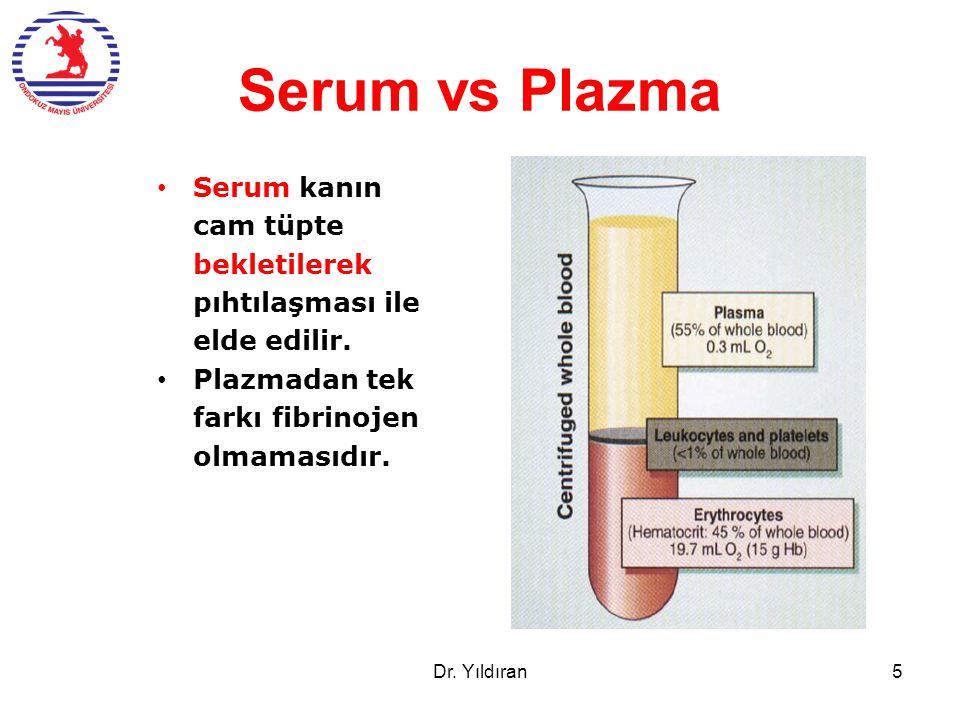 Serum vs Plazma Serum kanın cam tüpte bekletilerek pıhtılaşması ile elde edilir. Plazmadan tek farkı fibrinojen olmamasıdır. Dr. Yıldıran5