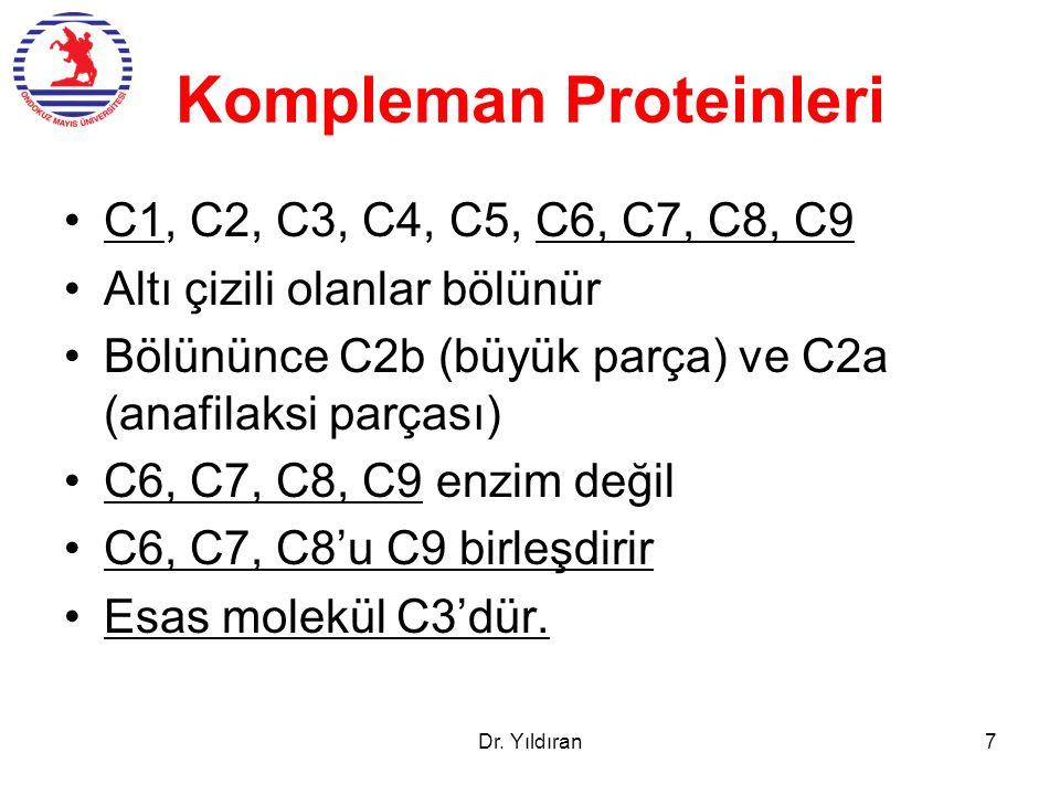 Kompleman Proteinleri C1, C2, C3, C4, C5, C6, C7, C8, C9 Altı çizili olanlar bölünür Bölününce C2b (büyük parça) ve C2a (anafilaksi parçası) C6, C7, C8, C9 enzim değil C6, C7, C8'u C9 birleşdirir Esas molekül C3'dür.