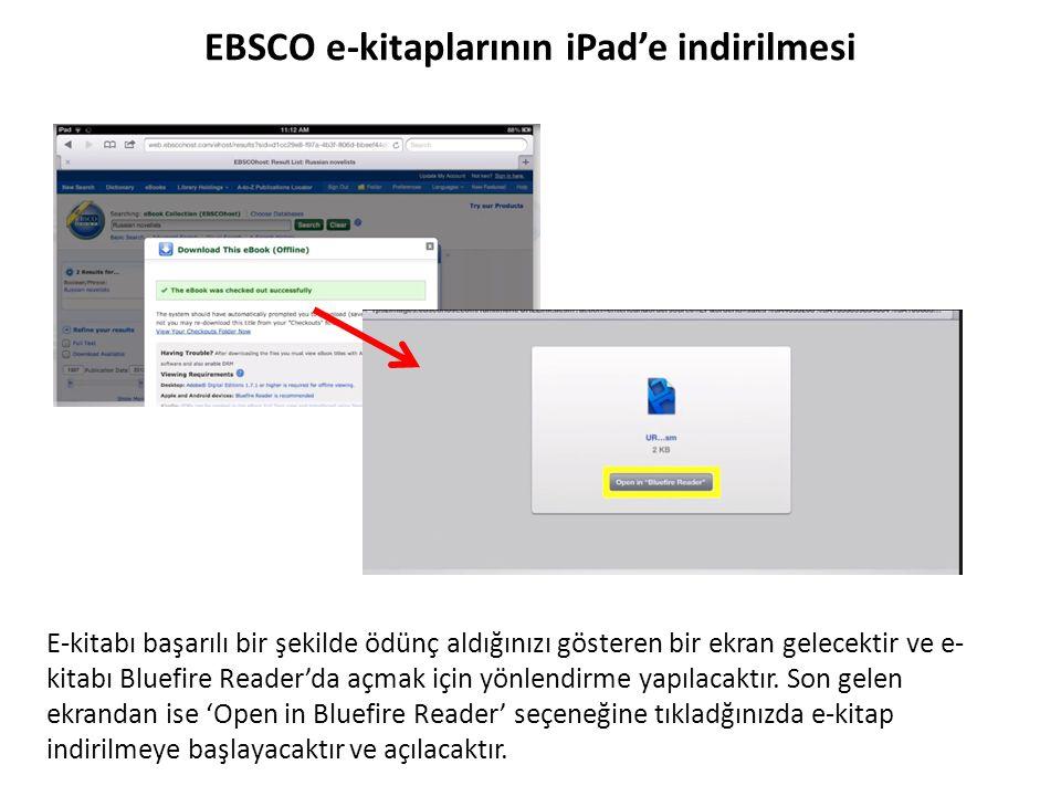 EBSCO e-kitaplarının iPad'e indirilmesi E-kitabı başarılı bir şekilde ödünç aldığınızı gösteren bir ekran gelecektir ve e- kitabı Bluefire Reader'da a