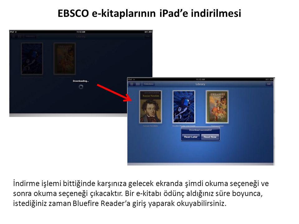 EBSCO e-kitaplarının iPad'e indirilmesi İndirme işlemi bittiğinde karşınıza gelecek ekranda şimdi okuma seçeneği ve sonra okuma seçeneği çıkacaktır. B