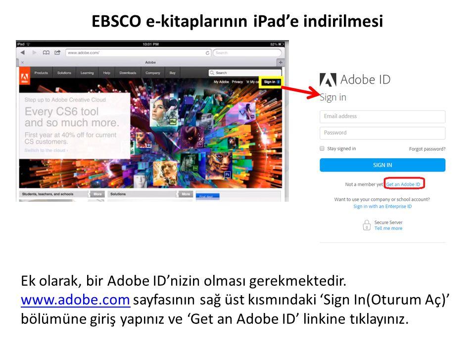 Ek olarak, bir Adobe ID'nizin olması gerekmektedir. www.adobe.com sayfasının sağ üst kısmındaki 'Sign In(Oturum Aç)' bölümüne giriş yapınız ve 'Get an