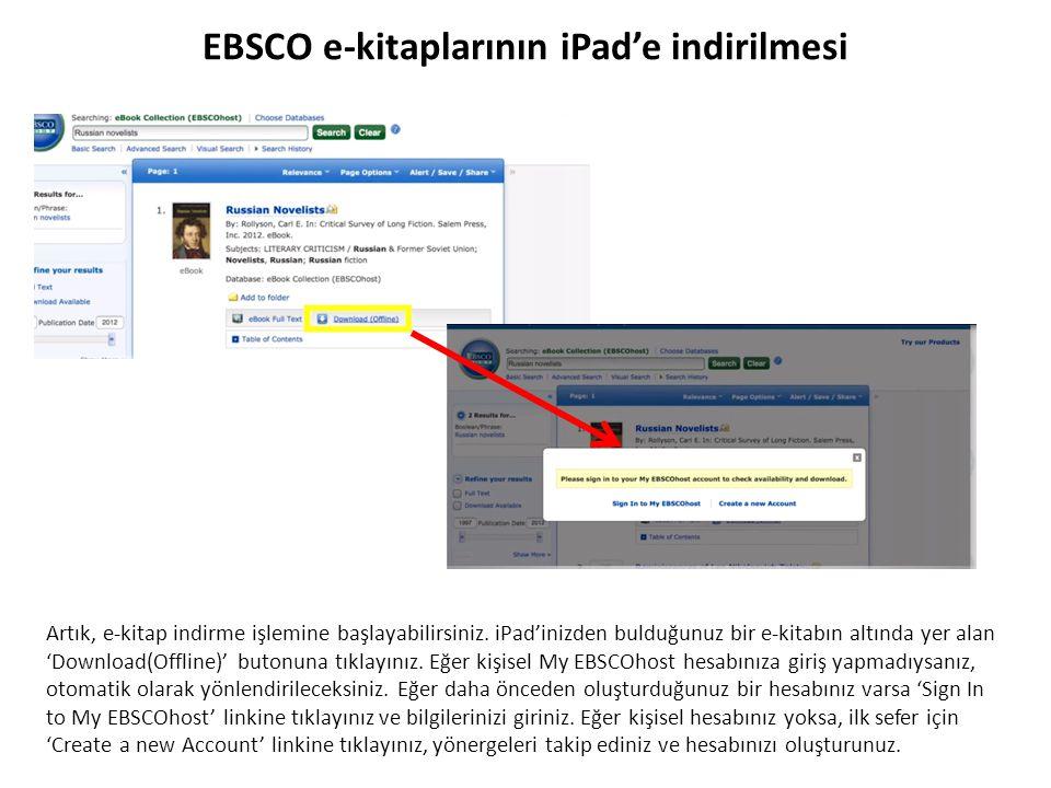 EBSCO e-kitaplarının iPad'e indirilmesi Artık, e-kitap indirme işlemine başlayabilirsiniz. iPad'inizden bulduğunuz bir e-kitabın altında yer alan 'Dow