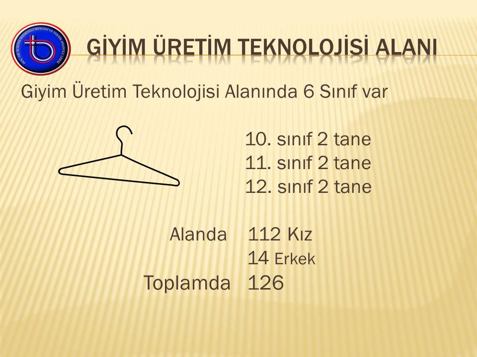 Giyim Üretim Teknolojisi Alanında 6 Sınıf var 10. sınıf 2 tane 11.