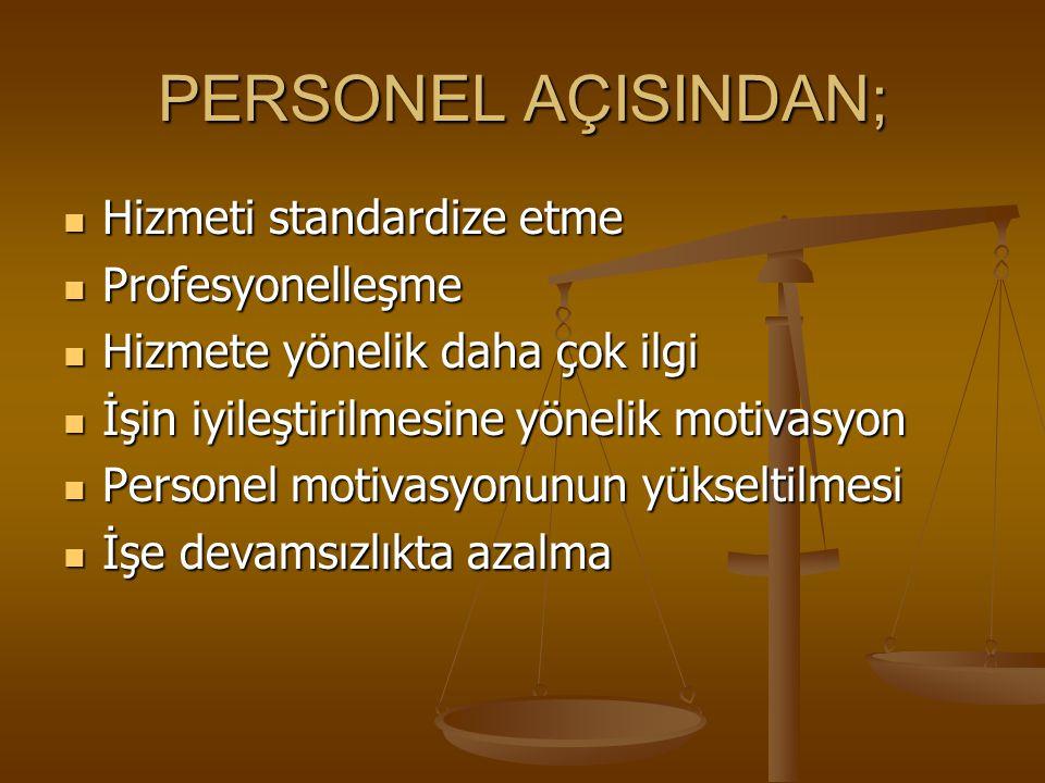 İDARİ AÇIDAN; Veri toplama ve istatistiksel analiz yapılması ile kaynakların kontrol altına alınması Veri toplama ve istatistiksel analiz yapılması ile kaynakların kontrol altına alınması Bütün personelin toplam kalite faaliyetlerine katılması Bütün personelin toplam kalite faaliyetlerine katılması Çalışanlara gereken değerin verilerek personel hareketlerinin önüne geçilmesi Çalışanlara gereken değerin verilerek personel hareketlerinin önüne geçilmesi Sağlık hizmeti sunanların problemlerinin çözümlenmesi Sağlık hizmeti sunanların problemlerinin çözümlenmesi Çalışanların motivasyonunun artırılması Çalışanların motivasyonunun artırılması
