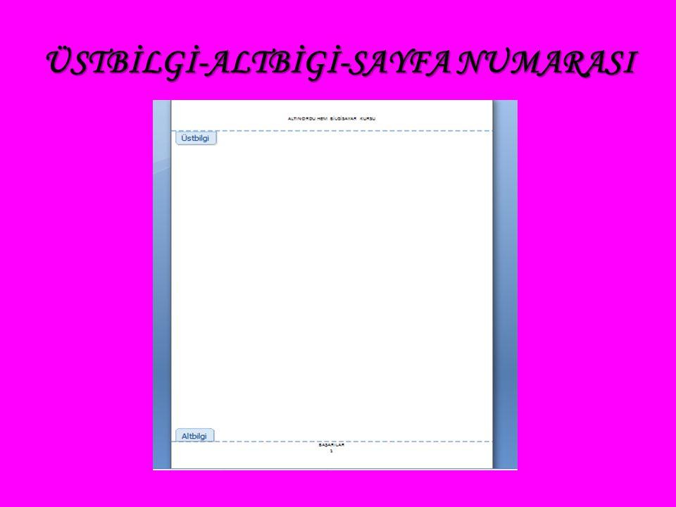 ÜSTBİLGİ-ALTBİGİ-SAYFA NUMARASI