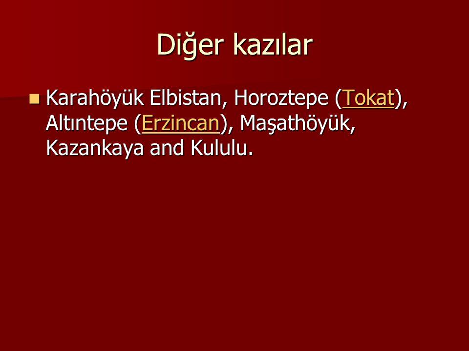 Diğer kazılar Karahöyük Elbistan, Horoztepe (Tokat), Altıntepe (Erzincan), Maşathöyük, Kazankaya and Kululu. Karahöyük Elbistan, Horoztepe (Tokat), Al