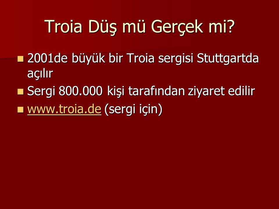 Troia Düş mü Gerçek mi? 2001de büyük bir Troia sergisi Stuttgartda açılır 2001de büyük bir Troia sergisi Stuttgartda açılır Sergi 800.000 kişi tarafın