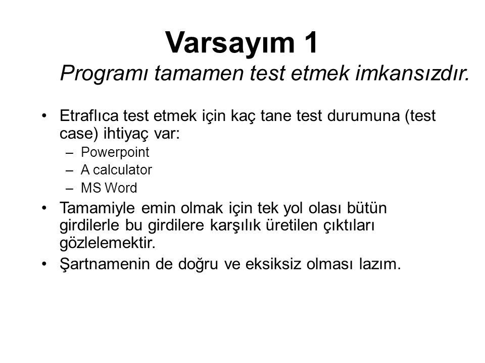 Varsayım 1 Programı tamamen test etmek imkansızdır. Etraflıca test etmek için kaç tane test durumuna (test case) ihtiyaç var: –Powerpoint –A calculato