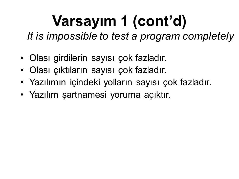 Varsayım 1 (cont'd) It is impossible to test a program completely Olası girdilerin sayısı çok fazladır. Olası çıktıların sayısı çok fazladır. Yazılımı