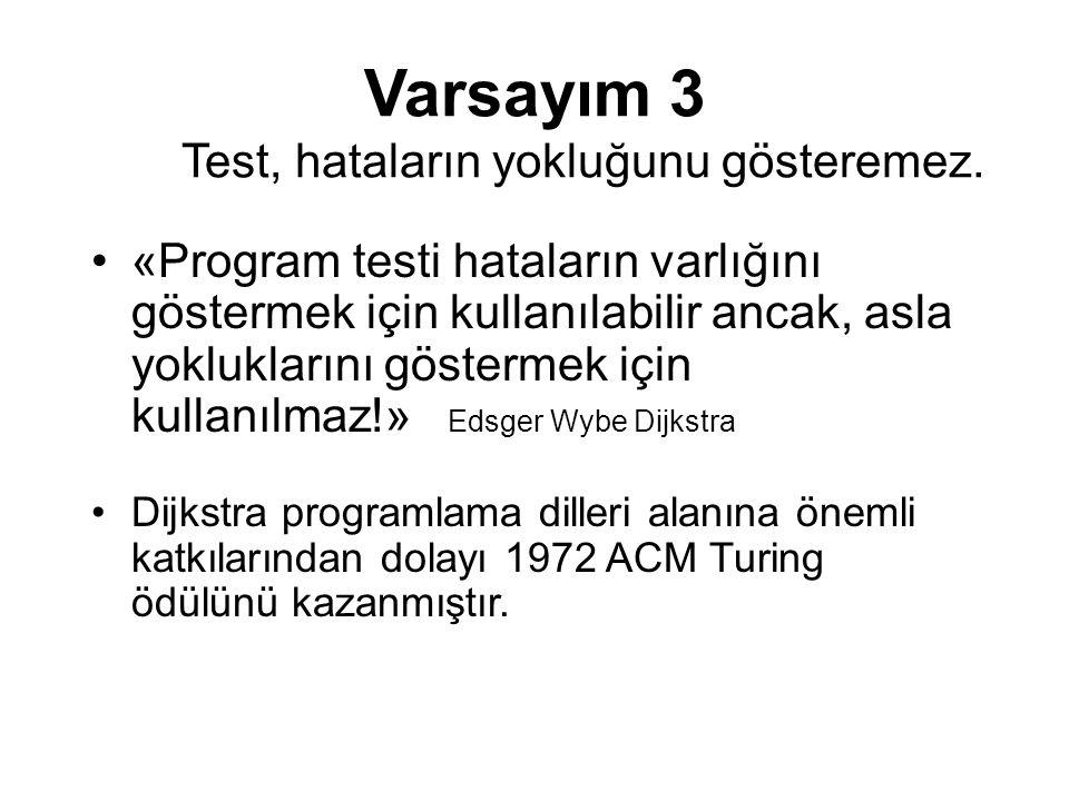 Varsayım 3 Test, hataların yokluğunu gösteremez. «Program testi hataların varlığını göstermek için kullanılabilir ancak, asla yokluklarını göstermek i