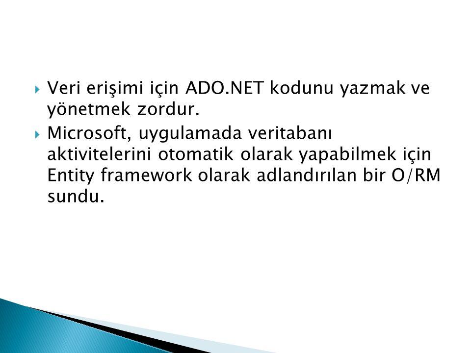  Microsoft ADO.NET Entity Framework bir O/RM framework'tür ki bu yapı, alana özgü nesneler gibi ilişkisel verilerle çalışmaya izin veriyor.