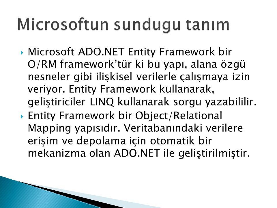  Entity Framework 3 senaryoda kullanışlıdır 1.