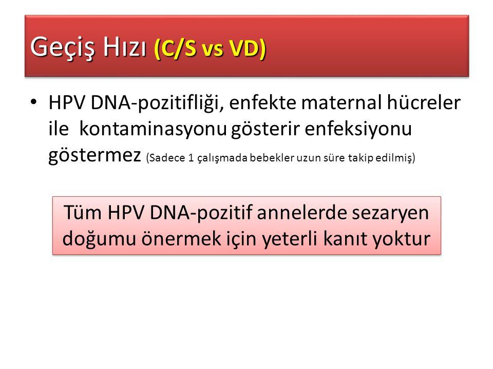 HPV DNA-pozitifliği, enfekte maternal hücreler ile kontaminasyonu gösterir enfeksiyonu göstermez (Sadece 1 çalışmada bebekler uzun süre takip edilmiş)