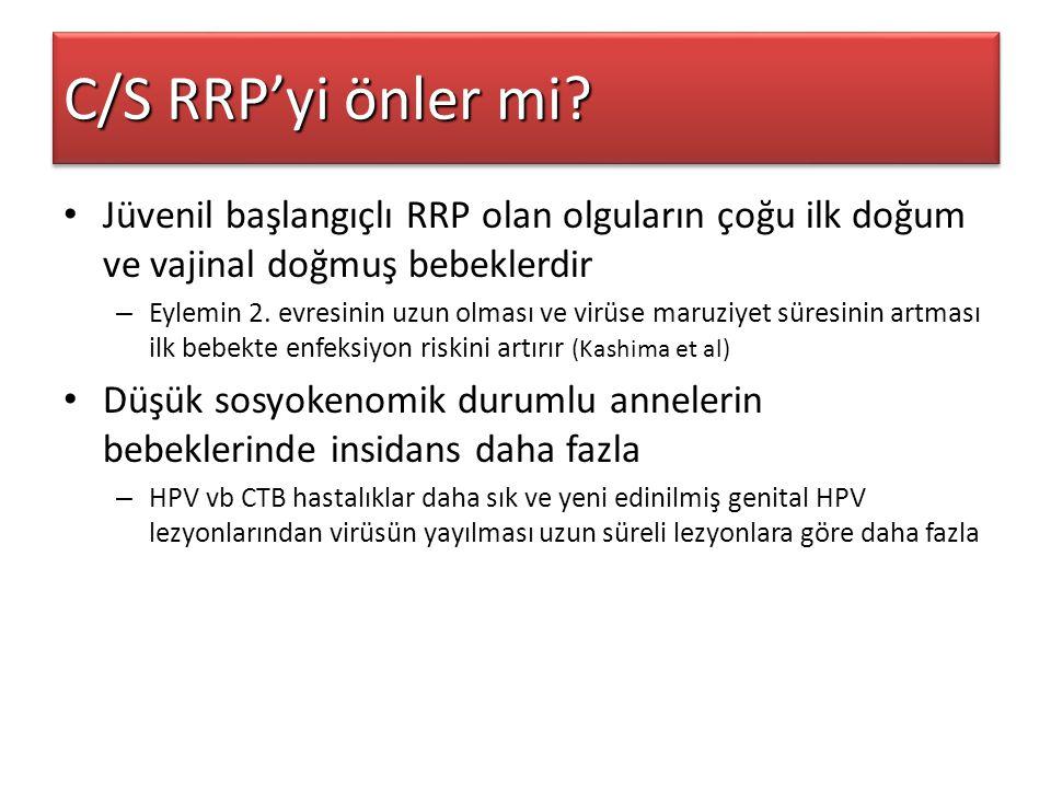 C/S RRP'yi önler mi? Jüvenil başlangıçlı RRP olan olguların çoğu ilk doğum ve vajinal doğmuş bebeklerdir – Eylemin 2. evresinin uzun olması ve virüse