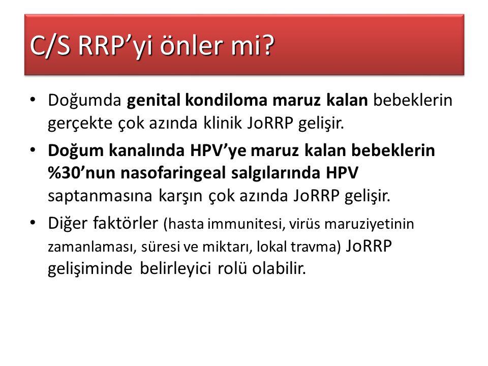 C/S RRP'yi önler mi? Doğumda genital kondiloma maruz kalan bebeklerin gerçekte çok azında klinik JoRRP gelişir. Doğum kanalında HPV'ye maruz kalan beb