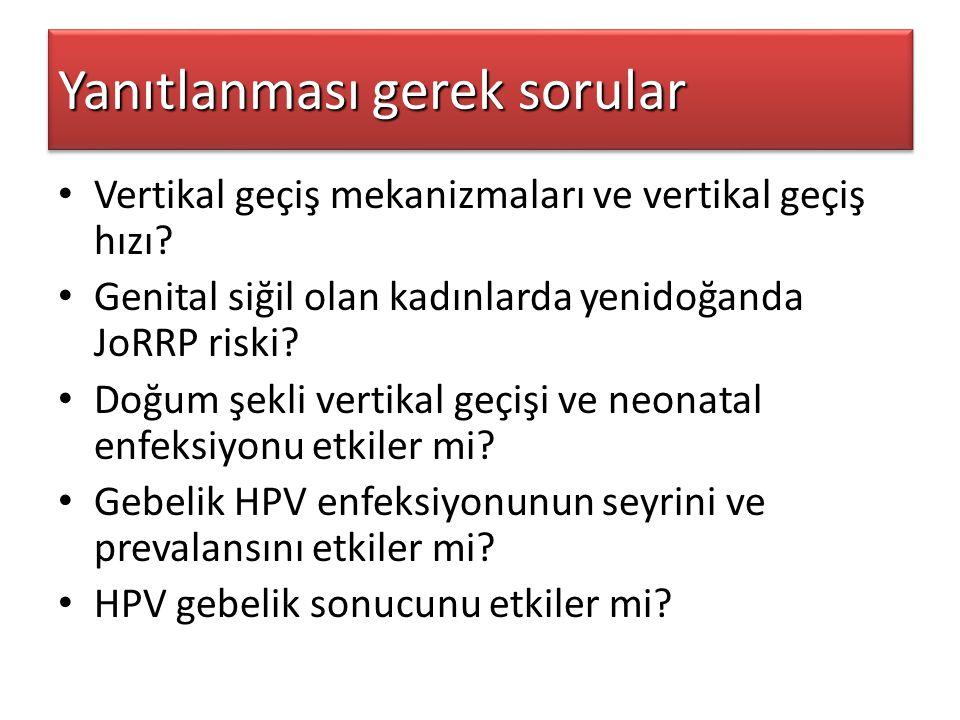 Yanıtlanması gerek sorular Vertikal geçiş mekanizmaları ve vertikal geçiş hızı? Genital siğil olan kadınlarda yenidoğanda JoRRP riski? Doğum şekli ver