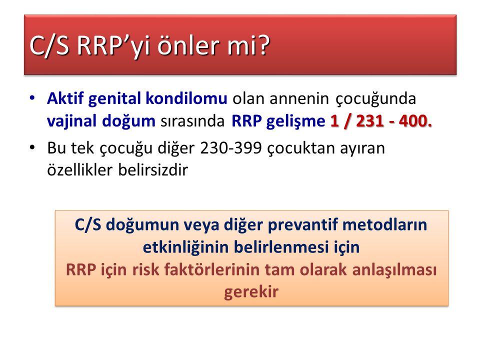 C/S RRP'yi önler mi? 1 / 231 - 400. Aktif genital kondilomu olan annenin çocuğunda vajinal doğum sırasında RRP gelişme 1 / 231 - 400. Bu tek çocuğu di