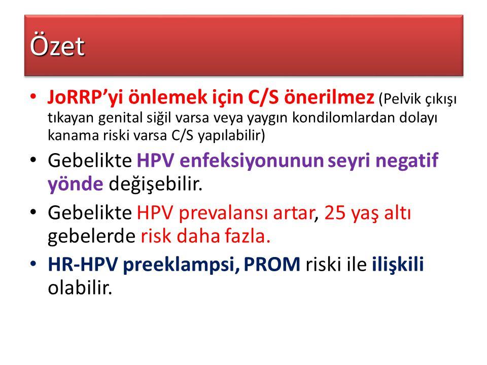 JoRRP'yi önlemek için C/S önerilmez (Pelvik çıkışı tıkayan genital siğil varsa veya yaygın kondilomlardan dolayı kanama riski varsa C/S yapılabilir) G