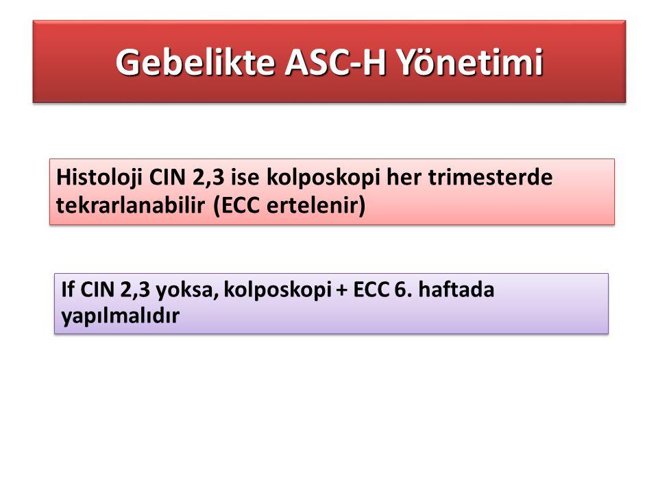 Histoloji CIN 2,3 ise kolposkopi her trimesterde tekrarlanabilir (ECC ertelenir) If CIN 2,3 yoksa, kolposkopi + ECC 6. haftada yapılmalıdır Gebelikte