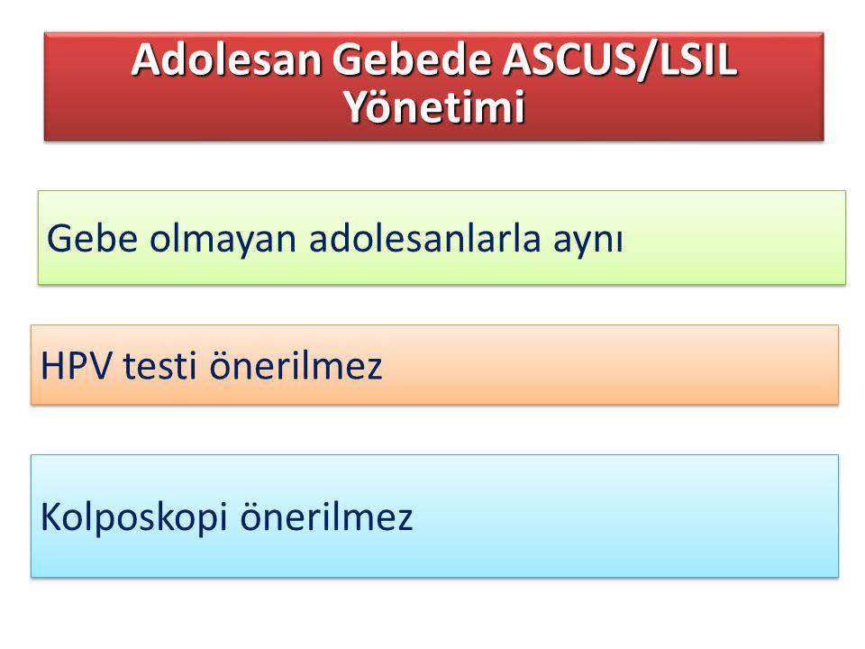 Gebe olmayan adolesanlarla aynı Adolesan Gebede ASCUS/LSIL Yönetimi Kolposkopi önerilmez HPV testi önerilmez