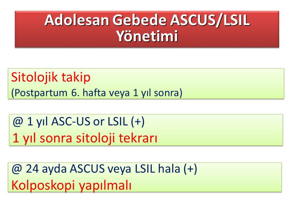 Adolesan Gebede ASCUS/LSIL Yönetimi Sitolojik takip (Postpartum 6. hafta veya 1 yıl sonra) Sitolojik takip (Postpartum 6. hafta veya 1 yıl sonra) @ 1