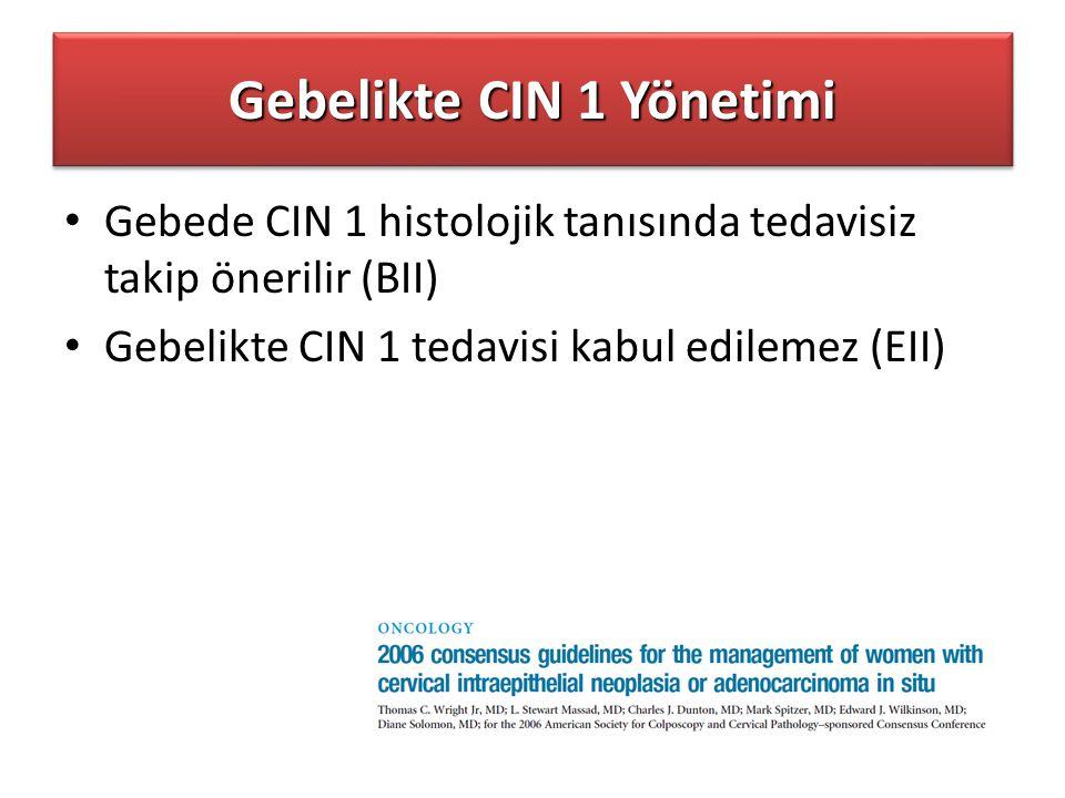 Gebelikte CIN 1 Yönetimi Gebede CIN 1 histolojik tanısında tedavisiz takip önerilir (BII) Gebelikte CIN 1 tedavisi kabul edilemez (EII)