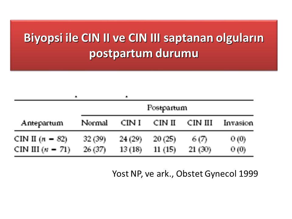 Biyopsi ile CIN II ve CIN III saptanan olguların postpartum durumu Yost NP, ve ark., Obstet Gynecol 1999